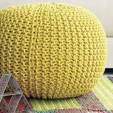 Yellow Knitted Pouf