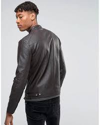 barney s originals brown tall faux leather biker jacket for men