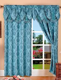 details about penelopie jacquard rod pocket panel with attached valance blue 54x84 18
