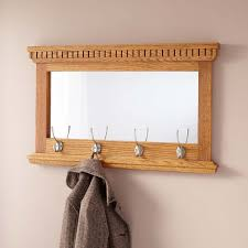 Traditional Oak Finish Coat Rack Mirrored Solid Oak Coat Rack with Classic Double Hooks Hardware 12
