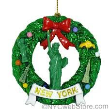 nyc statue of liberty wreath ornament