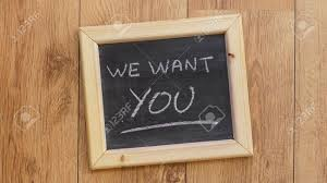 office chalkboard. Stock Photo - We Want You Written On A Chalkboard At The Office R