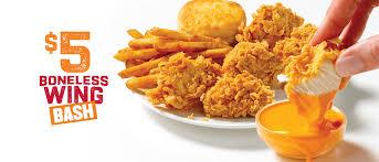 popeyes fried chicken logo. Plain Chicken 5 Boneless Wing Bash Includes 6 Or 9 Boneless Wings Regular Side Biscuit Inside Popeyes Fried Chicken Logo 0
