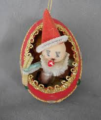 1940s-1950s Vintage Genuine Goose Egg Diorama Christmas Ornament, Spun  Cotton and Chenille Clown