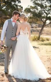 a line wedding dresses with illusion lace essense of australia