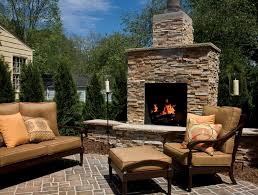 garden unique fire rock outdoor fireplaces at patio with classic brown sofa design ideas
