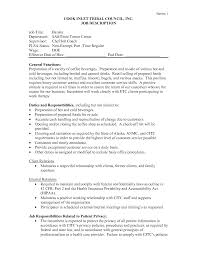 resume job responsibilities examples barista duties resume 6536 cd cd org