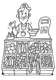 Kleurplaat Winkelier Groentenwinkel Praatprenten Kleurplaten