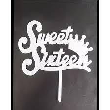 91 68 Acrylic Silver Sweet Sixteen Cake Topper