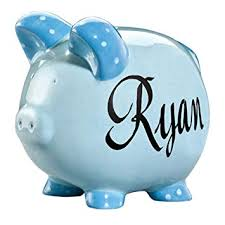 personalized piggy banks pink or blue customized with your child s name great baby