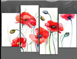 poppy wall art 5 red poppies painting on white 4 panel fl poppy picture canvas print