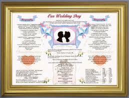 Marriage Gift Chart Our Wedding Day Personalised Anniversary Gift Idea