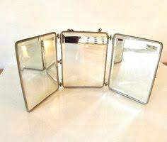 French Vintage Three Way/Tri Fold Shaving Vanity Mirror