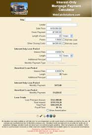 Interest Only Mortgage Payment Calculator Information