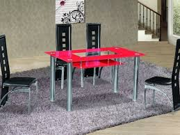 red glass dining table and 4 black chair set