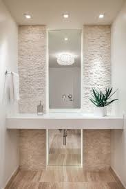 Counter and sink look for powder room. Ocean Drive Condo - contemporary -  powder room - miami - Interiors Love the vertical mirror and texture of  tiles
