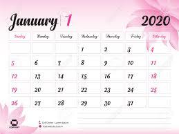 Desk Calendar Printable January 2020 Year Template Calendar 2020 Desk Calendar Design