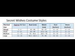 Rubies Costume Size Chart Rubies Secret Wishes Costume Size Chart Youtube