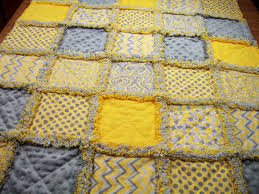 The quilt has been rinsed in cool, clear water once to start the ... & Baby Rag Quilts Yellow Gray Baby Quilt by LoveableQuiltsNMore Adamdwight.com
