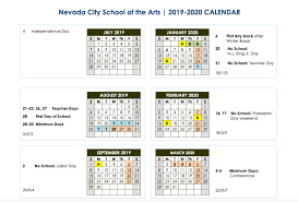 Year At A Glance Calendars Year At A Glance Calendar Nevada City School Of The Arts
