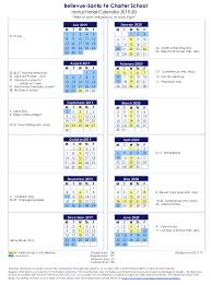 Year At A Glance Calendars Bellevue Santa Fe Charter School Year At A Glance Calendar