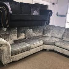 used silver crushed velvet corner sofa 500