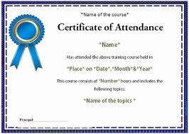 Certificate Of Attendance Template Bkperennials