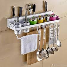 Kitchen Utensil Storage 2017 Multifunctional Wall Hanging Aluminum Kitchen Rack Of Wall