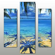 palm tree shadow wall art set blue set of three on palm tree wall art set with palm tree shadow beach triptych wall art set