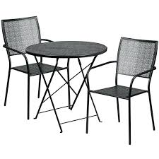 30 patio table round black indoor outdoor steel folding patio table set with 2 square back 30 patio table round