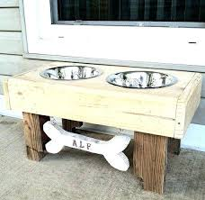 bowls single raised dog bowl stand wooden food stands pet plans reclaimed rustic pallet furniture