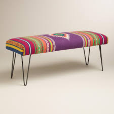 our hairpin leg bench inspires a boho vibe with its cushioned seat