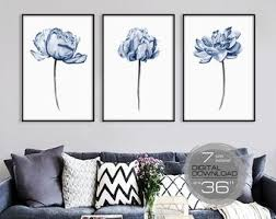 printable wall art set of 3 blue peony watercolor painting downloadable prints large wall art prints wall art bedroom wall decor living room on wall art prints etsy with downloadable prints etsy