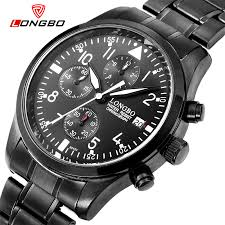 online get cheap all black watches aliexpress com alibaba group 2016 new arrival full stainless steel all black men quartz watch montre homme luxury brand top quality longbo calendar relojes