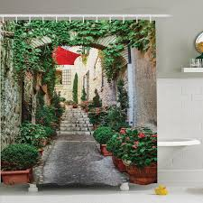 endearing rustic shower curtains and ambesonne rustic old street with flowers shower curtain set wayfair