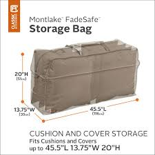 the montlake fadesafe cushion cover storage bag from classic accessories is not only designed to protect your patio furniture longer but will keep rain out