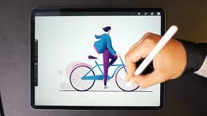 Drawing On Ipad Pro Winter Cycling Ipad Pro Drawing