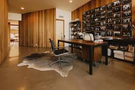century office. Mid Century Home Office With Wooden Furniture