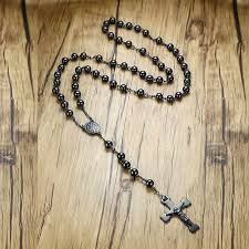 vnox mens chain bead rosary cross necklace stainless steel black christ charm male jewelry