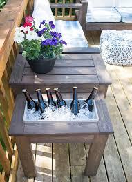 diy outdoor table. DIY Outdoor Table With Ice Bucket Diy