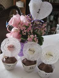 TEA PARTY PERFECT CUPCAKES AND CENTER PIECES TABLE NUMBERS WITH DOILIES  BABY SHOWER DECORATIONS PLACE CARDS