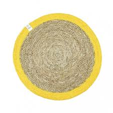round seagrass jute placemat natural yellow