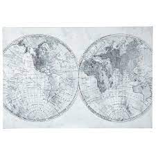gray black world map canvas wall