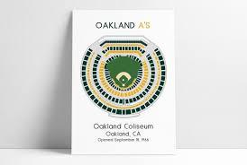 O Co Coliseum Seating Chart Baseball Oakland Athletics Oakland As Mlb Stadium Map Ballpark Map Baseball Stadium Map Gift For Him Stadium Seating Chart Man Cave