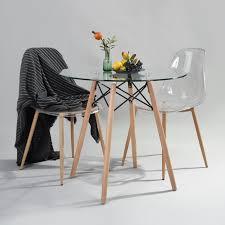 Homy Casa Table à Manger Ronde Table De Cuisine Scandinave En Verre
