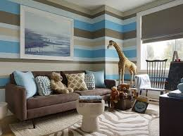 chocolate brown and blue living room ideas with large wall painting ideas