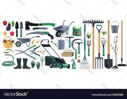 garden tools equipment cartoon set