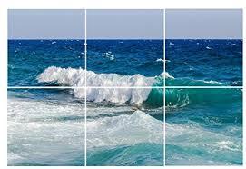 ceramic tiles art ocean. Fine Ceramic Ocean Wave Tile Mural  Ceramic Bathroom Backsplash Kitchen  Art On Tiles R