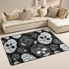 unique day of the dead decorations fl sugar skulls white area rug pad nonslip kitchen
