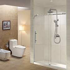 frameless sliding shower door 44 48 width 76 height 3 8 10 mm clear tempered glass brushed stainless steel finish designed for smooth door